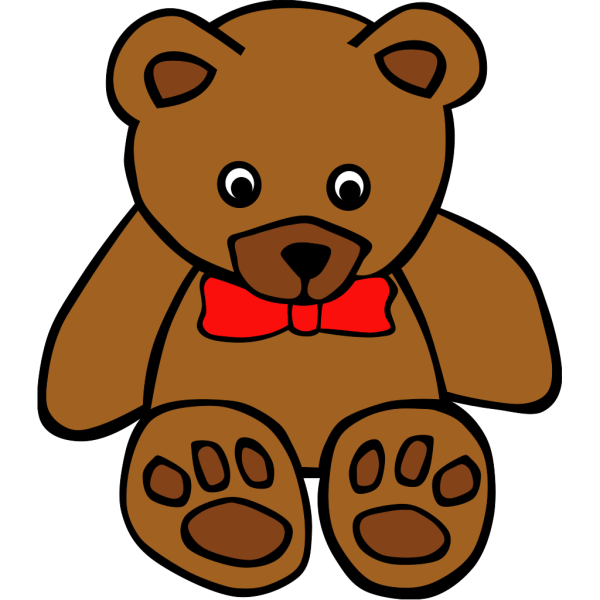 Simple Teddy Bear With Bow PNG clipart