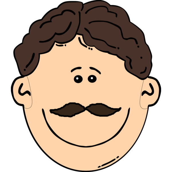 Smiling Brown Hair Man With Mustache PNG Clip art