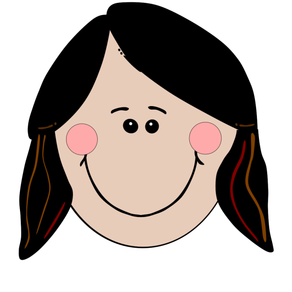 Smiling Girl With Brown Ponytails PNG Clip art