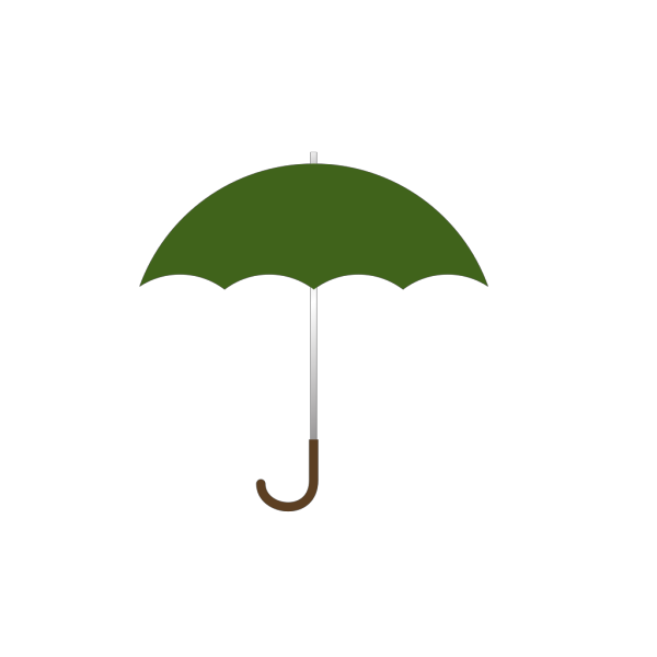 Dark Green Umbrella W Brown J Handle PNG Clip art