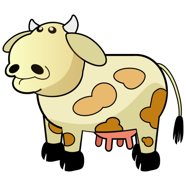 Cream Colored Cow With Brown Spots PNG Clip art