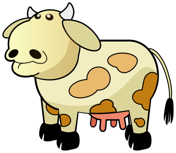 White Colored Cow With Brown Spots PNG Clip art