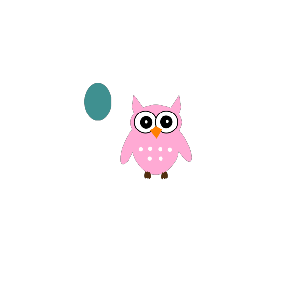 Aqua & Pink Owl PNG Clip art