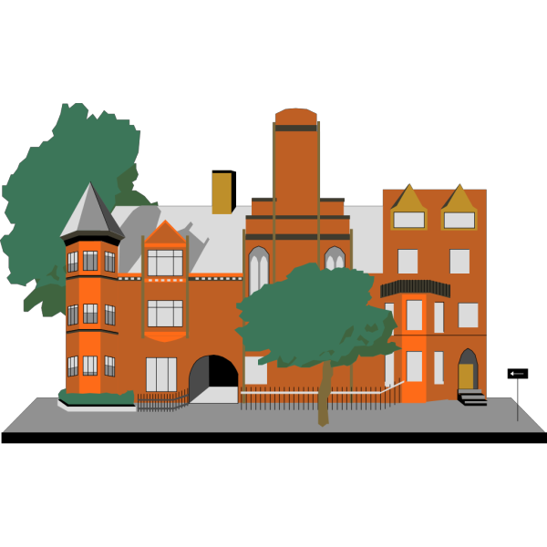 Cartoon Building With Trees PNG Clip art