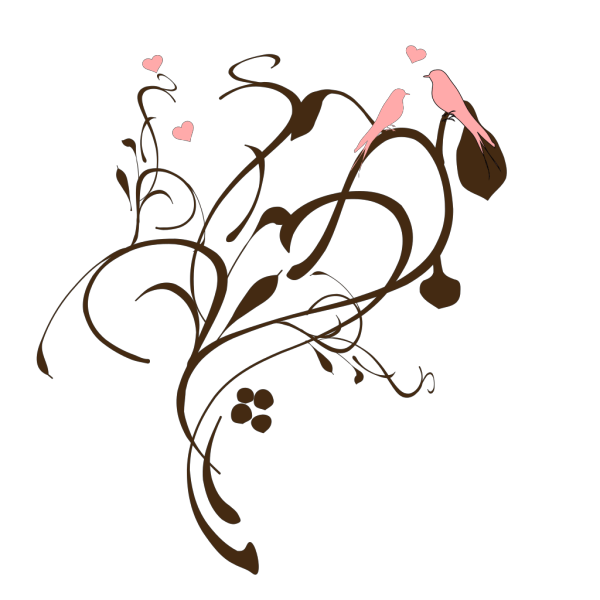 Birds On A Branch Pink And Brown PNG Clip art