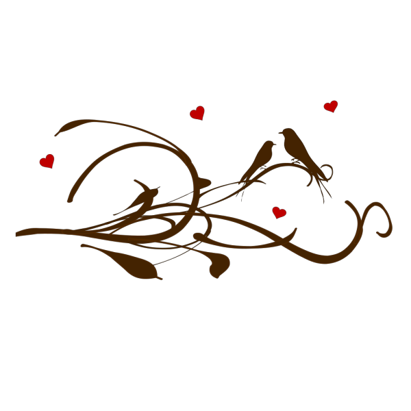Brown Love Birds On A Branch PNG Clip art