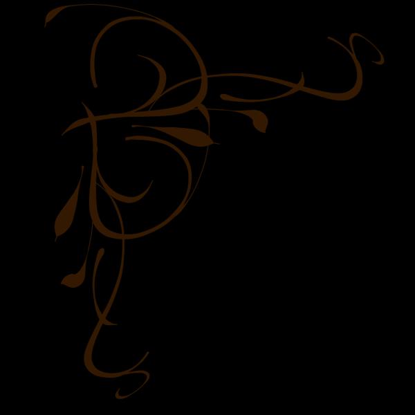 Left Brown Floral Swirl PNG Clip art