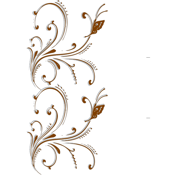 Brown Butterfly Scroll Border PNG Clip art