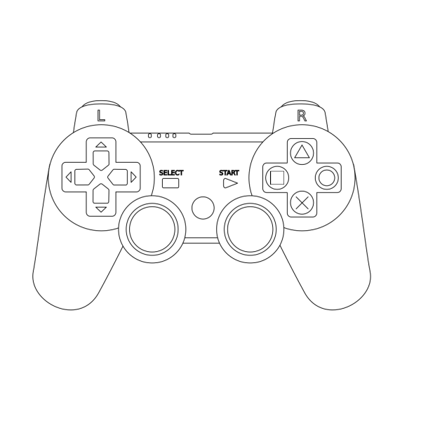 Game Controller Outline White PNG Clip art