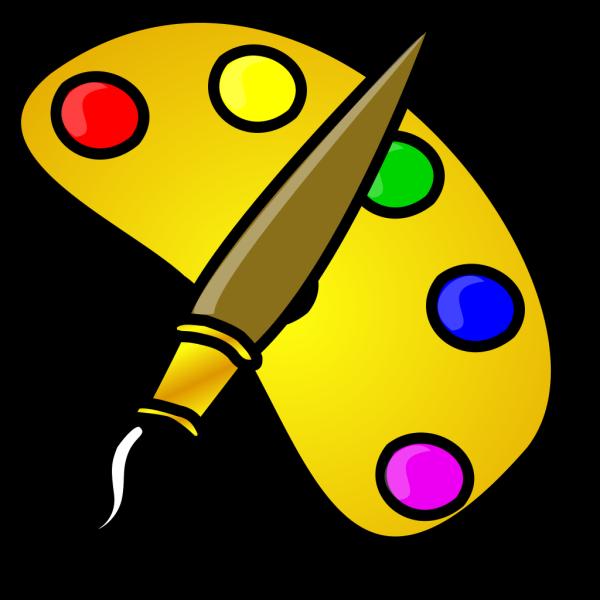 Painter Color Palette With Brush Cartoon PNG Clip art