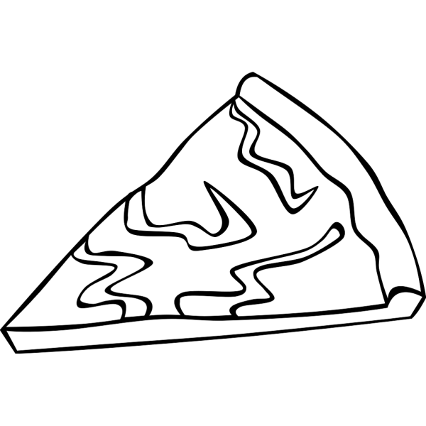 Cheese Pizza Slice (b And W) PNG Clip art