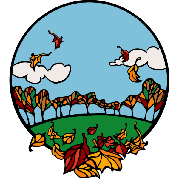 Fall Scene In A Circle PNG Clip art