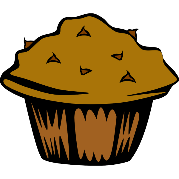 Double Chocolate Muffin (b And W) PNG Clip art