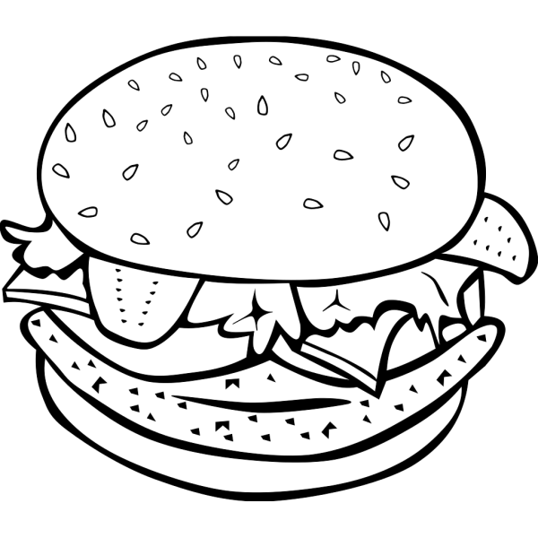 Chicken Burger (b And W) PNG Clip art
