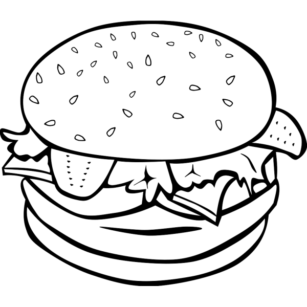 Hamburger (b And W) PNG clipart