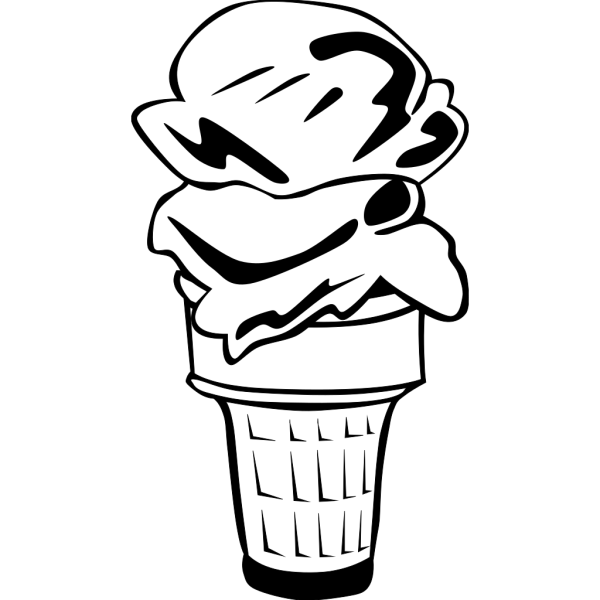 Ice Cream Cone (2 Scoop) (b And W) PNG Clip art