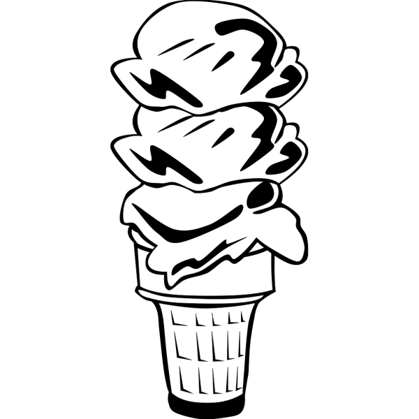 Ice Cream Cone (3 Scoop) (b And W) PNG Clip art