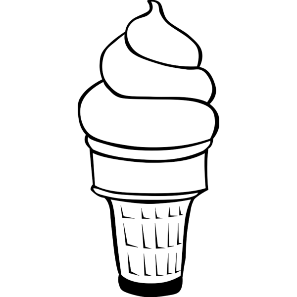 Soft Serve Ice Cream Cone (b And W) PNG Clip art