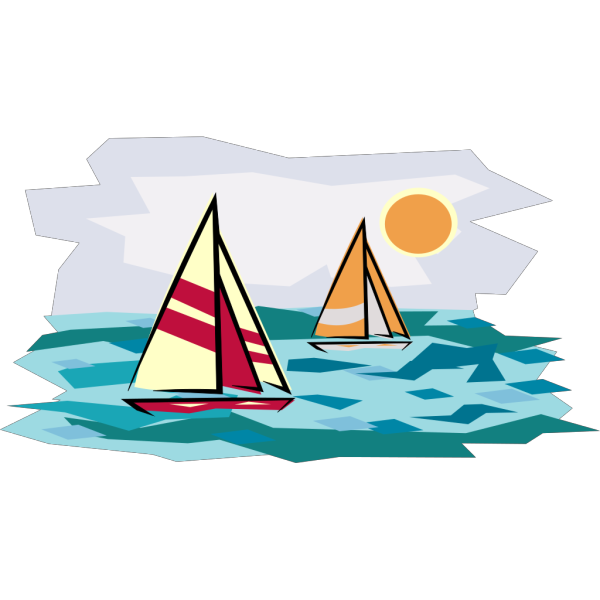 Two Sailboats In Sunset PNG Clip art