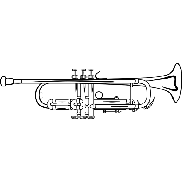 Trumpet B Flat (b And W) PNG images