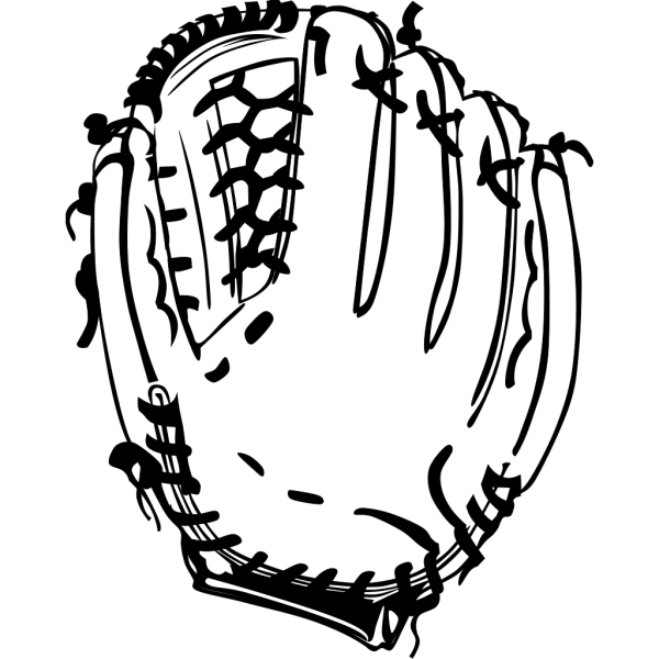 Baseball Glove (b And W) PNG Clip art