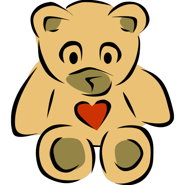 Stylized Teddy Bear With Heart PNG Clip art