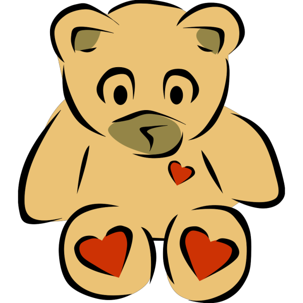 Stylized Teddy Bear With Hearts PNG Clip art