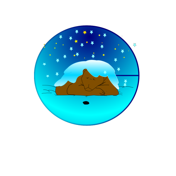 Sleeping Bear Under Stars With Snow | Circle PNG Clip art