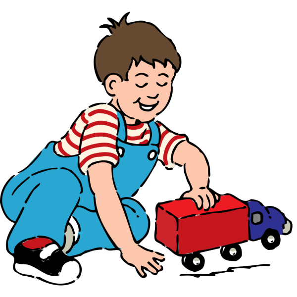 Boy Playing With Toy Truck PNG Clip art
