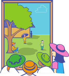 Kids Looking Out Window PNG Clip art