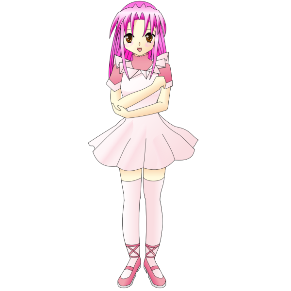 Girl With Pink Hair PNG Clip art
