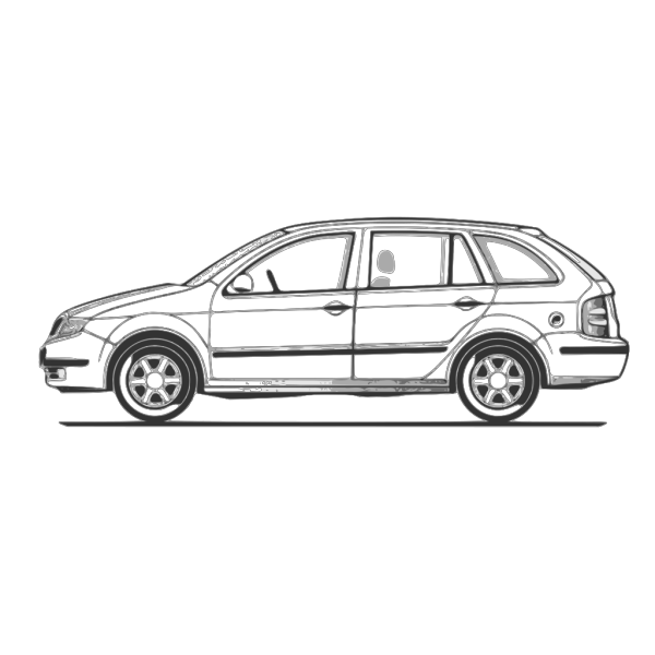 Car Compact Fabia Side View PNG Clip art