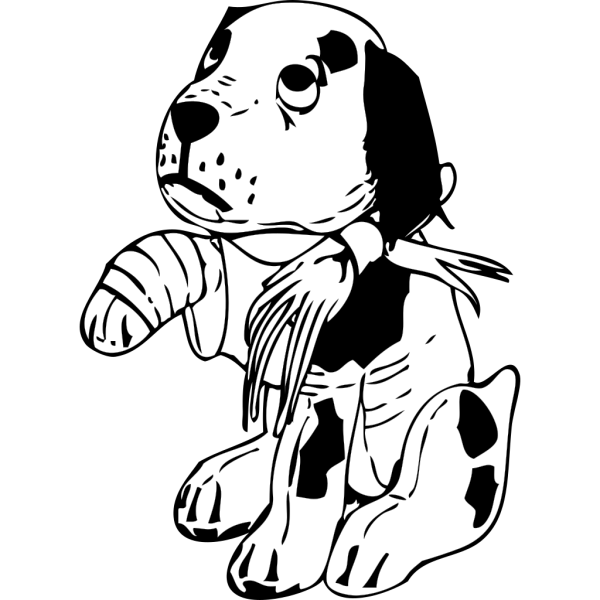 Sad Dog With A Broken Leg PNG clipart