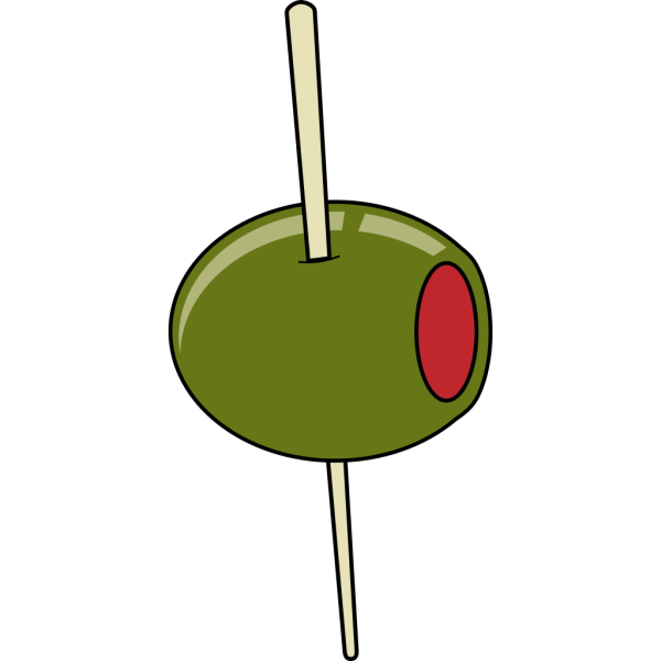 Green Olive On A Toothpick PNG Clip art