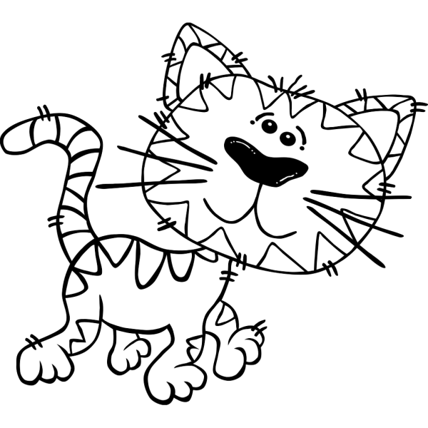 Cartoon Cat Walking Outline PNG Clip art