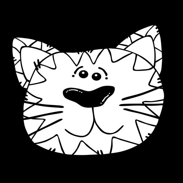 Cartoon Cat Face Outline PNG Clip art