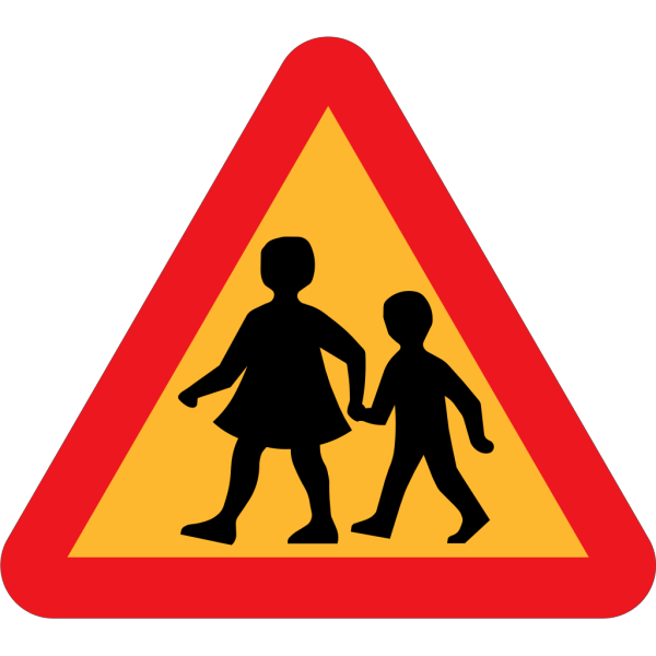 Child And Parent Crossing Road Sign PNG Clip art