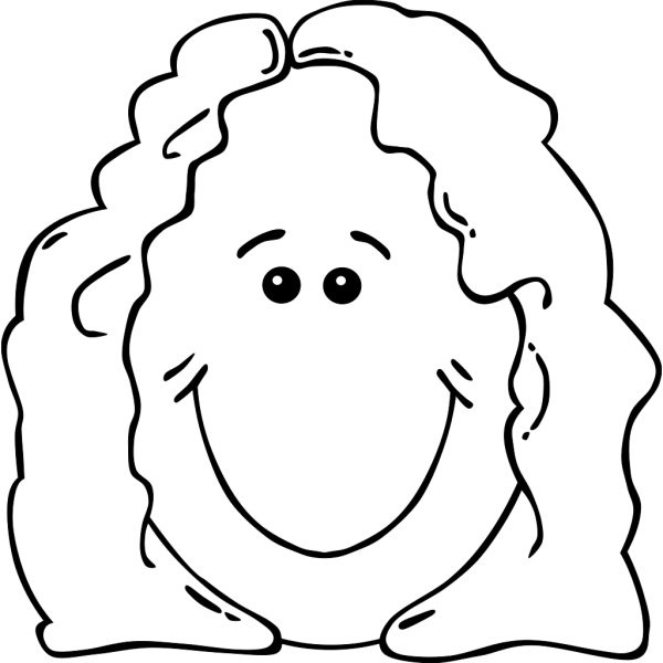 Lady Face World Label Outline PNG Clip art