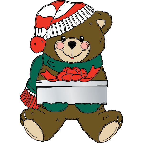 Christmas Bear Wih Present PNG images
