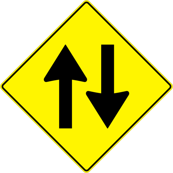 Paulprogrammer Yellow Road Sign Two Way Traffic PNG image