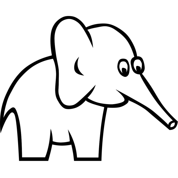 Cartoon Outline Elephant PNG Clip art