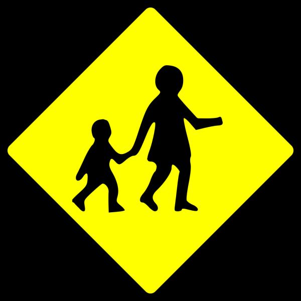 Children Crossing Caution PNG Clip art