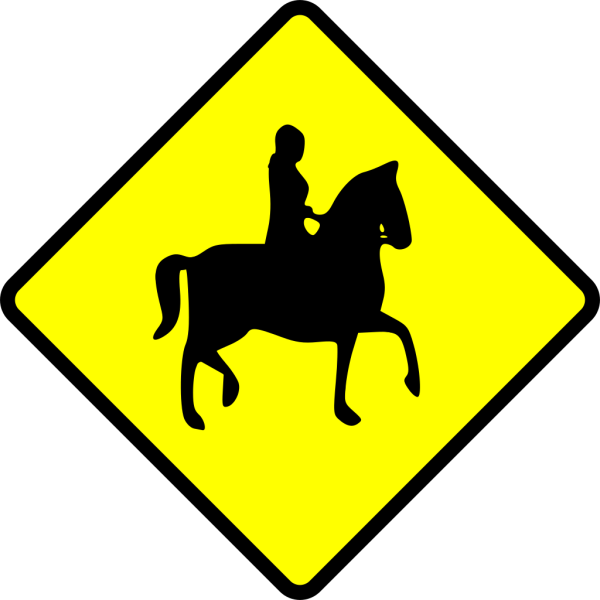 Caution Horse Ridder Crossing PNG Clip art