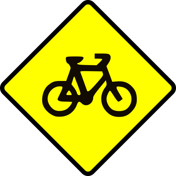 Caution Bike Road Sign Symbol PNG Clip art