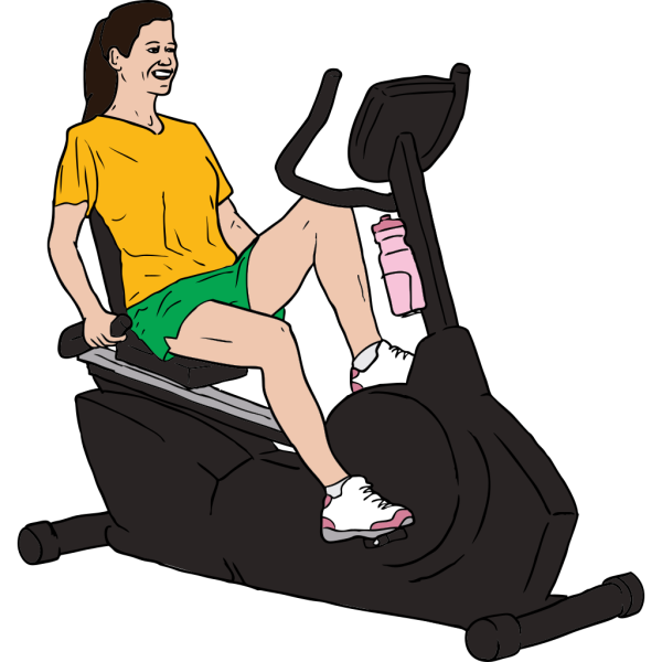 Woman On Exercise Bike PNG Clip art