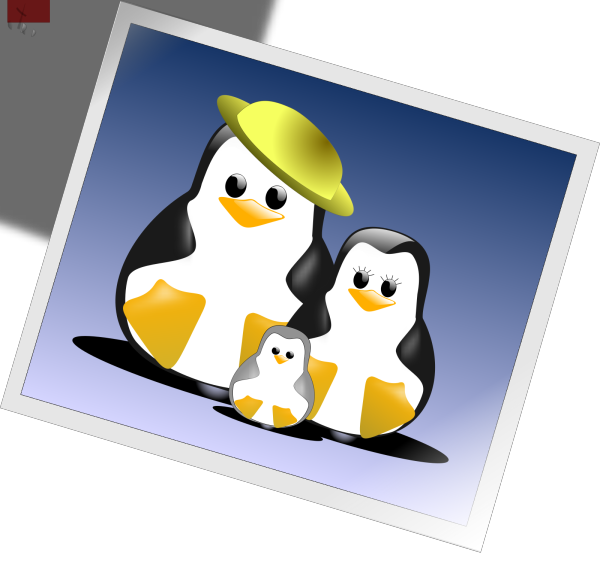 Happy Penguins Family Photo PNG Clip art