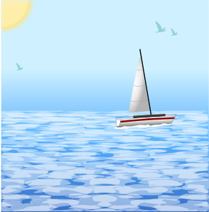 Sea Scene With Boat PNG Clip art