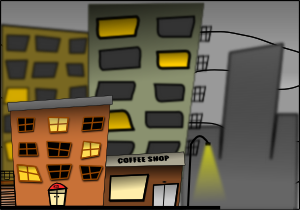Cartoon City Street Night PNG Clip art
