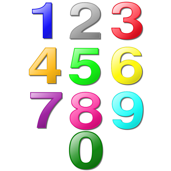 Colorful Numbers PNG Clip art