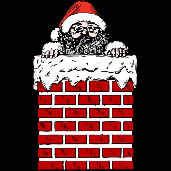 Santa In A Chimney PNG Clip art